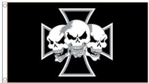 Three Skulls Iron Cross 5'x3' (150cm x 90cm) Flag